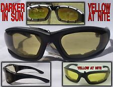 Transition Padded Riding Glasses Darker in Sun Yellow at Night #4728SS/ND