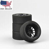 US 4Pcs Foam Tires & Wheels Rims 12mm Hex For HSP HPI 1/10 on-Road RC Racing Car