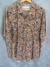80's FRANK Paisley Rayon Club Shirt Size Large Round Cut Tails