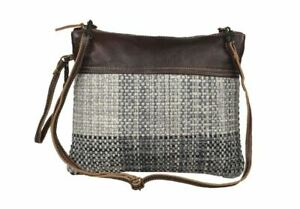 Myra Bag CUDDLED Canvas Leather Rug Shoulder Purse Crossbody Adjustable Strap