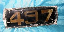 "Antique Glass Door Tin Number #497 House Plaque Sign 8 3/4 x 3 "" x 1/2'' HEAVY"