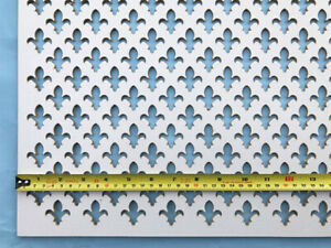 Radiator Cover grille Fleur de lys decorative screening panel white faced MDF
