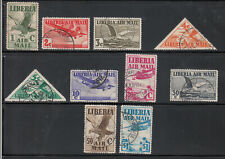 Liberia # C4-13 USED 1938 Airmail Set Fauna Bird Triangle POSTALLY USED NOT CTO