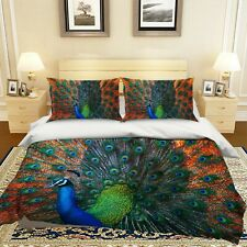 3D Green Peacock Opening R737 Animal Bed Pillowcases Quilt Duvet Cover Queen Kay
