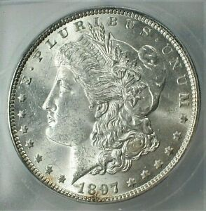 1897 USA Morgan Silver Dollar ICG MS64+ Condition, Blast White KM#110  (844)