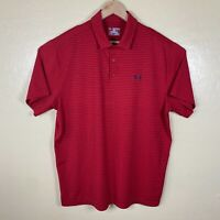 Under Armour Heat Gear Polo Shirt Mens 2XL Red Blue Striped Loose Golf Collared