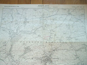 CORNWALL VINTAGE MAP LARGE 1938 PROVISIONAL EDITION LISKEARD BODMIN DIVISION