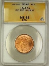 1942 Iceland 5A Five Aurar Copper Coin ANACS MS-65 Red GEM BU (B)