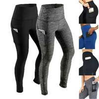 Women Yoga Pants Push Up Pocket Leggings Fitness Sports Gym Exercise Trousers US