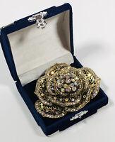 Large Vintage Brooch Gold Tone Diamante Aurora Borealis Crystals Sparkly Costume
