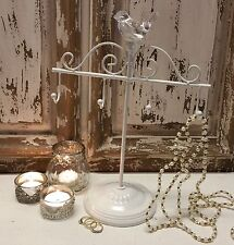 Cream Metal Crystal Bird Jewellery Tree Holder Hook Gisela Graham Stand Vintage
