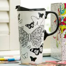 JUST ADD COLOUR Travel MUG Butterfly - CERAMIC Colour in Design + Markers