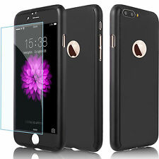 iPhone 6 Plus 7 Ultra Thin Full Body Protector Hard Case Tempered Glass FR Apple Black for iPhone 6s