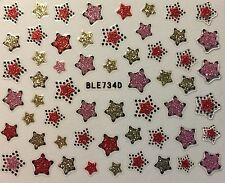 Nail Art 3D Decal Glitter Stickers Stars 4th of July Red Gold Pink BLE734D