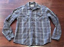 Converse One Star Mens Gray Blue Plaid Stripe Button Up Casual Shirt Sz M