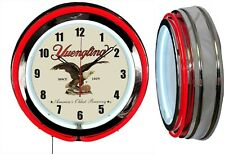 "Yuengling BEER America's Oldest 19"" RED Double Neon Clock Man cave Garage Bar"