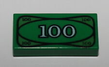 Lego Green 1 x 2 Decorated Tile $100 Bill Cash Money