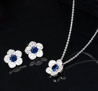 Lady 18K White Gold GP AAA+ Zircon Necklace Earrings Flower Bridal Wedding Sets