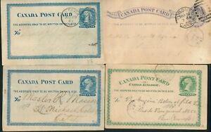 CANADA, UNCHECKED CLASSIC USED LOT OF 4 DIFFERENT POSTAL STATIONERY CARDS.  #Z84