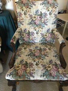 "Vintage ""LOUIS XV ARMCHAIR"" Studded Flower TAPESTRY Carved Arms/Legs IMPRESSIVE!"