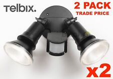 TRADE PRICE 2 x TELBIX COMET 20w LED OUTDOOR TWIN SPOT FLOOD LIGHT WITH SENSOR