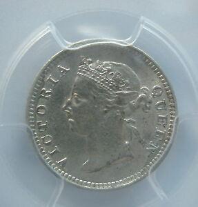 STRAITS SETTLEMENTS Malaysia 5 cents 1899 PCGS AU 55 UNC Victoria RARE & KEY
