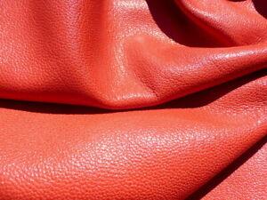 goatskin goat leather hide skin Burnt Orange Pebble Grain Full Bodied  2.5-3 oz.