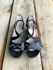 Santa Fe Women's Black  Leather Sandals Platform Slingback Shoes Size 11