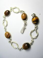 Beautiful 925 St. Silver Braclet Studded with Beautiful Tiger's Eye Stones
