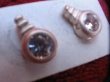 Solid Silver modernist crystal stud earrings - good quality - burnished finish