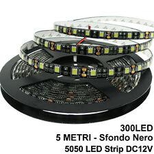 BOBINA LED SFONDO NERO 5M 300 LED 5050 BIANCO FREDDO 6000K BIADESIVO IP65