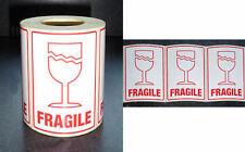 """10 Large FRAGILE (with Glass) Labels 71x102mm (3"""" x 4"""") Top Quality Sticky"""