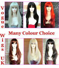 XXX Extra Long Blonde Ladies Straight Wig Red Blonde Black Brown Full Wig