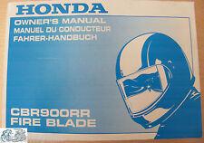 00X37-MCJ-6101 Manual Del Propietario Honda CBR900RR FIRE BLADE