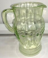 FREE SHIP - VASELINE Depression Glass HOCKING Green Criss Cross Pitcher 621