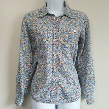 Vintage Lizwear Floral Chambray Button Up Shirt Small Light Blue Red Boho Sz M