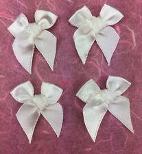 50 Wedding White 3cm Satin Bows for Weddings Scrapbooking/Card Making etc