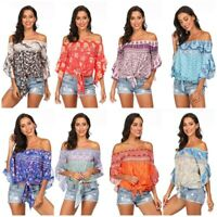 Boho Womens Off Shoulder Floral Top Short Bell Sleeve T-shirt Beach Blouse Tops