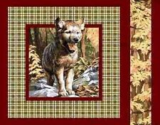 Wolf Pup on Brown Plaid Panel Fabric Pillow Panel