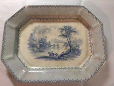 Antique Lucerne Blue Transferware Platter w/English Reg. Mark July 5, 1845