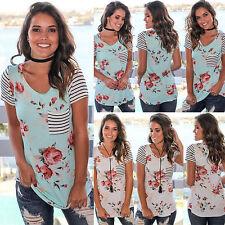 UK Women Striped Short Sleeve T-Shirt Ladies Summer Casual Tops Blouse Plus Size