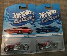 HOT WHEELS COOL CLASSICS BLASTOUS MOTO RED & BLUE CAR CARD 2/30 *NEW*