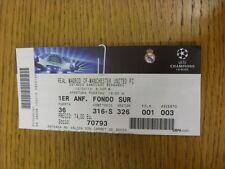 13/02/2013 BIGLIETTO: REAL Madrid V Manchester United Champions League [] (luce FOL