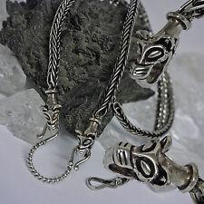 925 Silberkette Handgeflochten Wolfskopf Zier + Haken Bikerschmuck Wikingerkette