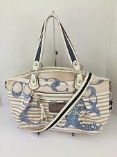 Coach Rocker Nautical Embellished Sequin Bag Purse Blue Silver Rare VGUC