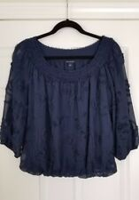 Max Edition Sheer Chiffon 3D Textures Pattern Blouse Size S - New