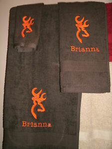 Buck Personalized 3 Piece Bath Towel Set Browning Buck  Your Color Choice