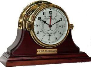 Brass Tide Clock on Mahogany Stand Seven Inch Nautical Clock