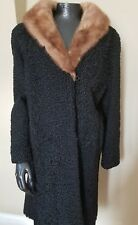 EARLY 60S PERSIAN BLACK CURLY LAMB WITH MINK COLLAR KISS'S FURS WISC RAPIDS SZ M