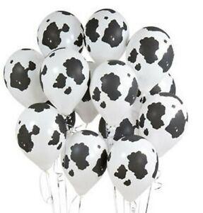 "12 PACK Cow Print Balloons 12"" Farm Party Decorating Barnyard Theme heifer Black"